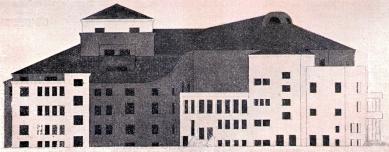 Návrhy architektury - Soutěžní návrh divadla v Olomouci, 1922 (spolupráce Evžen Linhart) - foto: archiv redakce