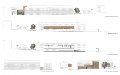 Architektonická studie FaVU a FA VUT - Pohledy a řez - foto: © fam architekti, 2007