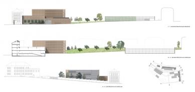 Architektonická studie FaVU a FA VUT - Pohledy a řezy - foto: © fam architekti, 2007
