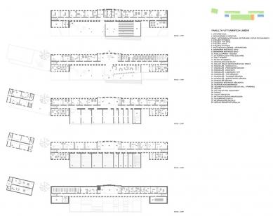 Architektonická studie FaVU a FA VUT - Půdorysy FaVU - foto: © fam architekti, 2007