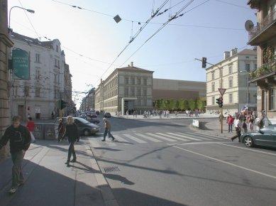Architektonická studie FaVU a FA VUT - Vstup do areálu - foto: © fam architekti, 2007