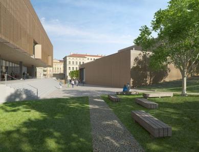 Architektonická studie FaVU a FA VUT - Pohled z parku ke vstupu - foto: © fam architekti, 2007