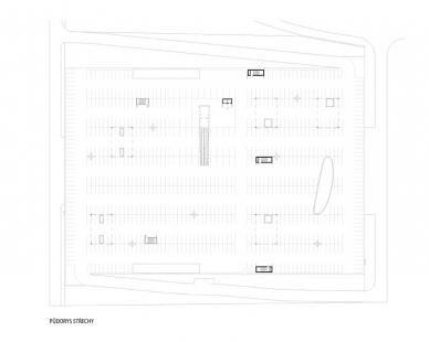 Obchodní centrum Šestka - Půdorys střechy - foto: © DNA architekti