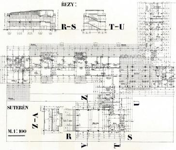 Francouzské školy - Půdorys suterénu a řezy - foto: archiv redakce