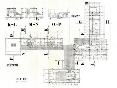 Francouzské školy - Půdorys přízemí a řezy - foto: archiv redakce