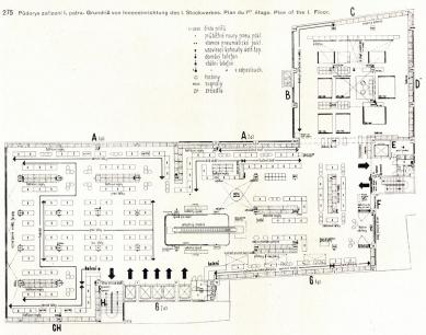 Interiéry obchodního domu Bílá labuť - Půdorys prvního podlaží - foto: archiv redakce