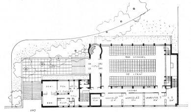 Soutěžní návrh na Husův sbor v Brně - půdory přízemí - foto: archiv redakce