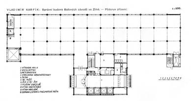 Správní budova Baťových závodů  - Půdorys přízemí - foto: archiv redakce