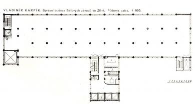 Správní budova Baťových závodů  - Půdorys typického patra - foto: archiv redakce