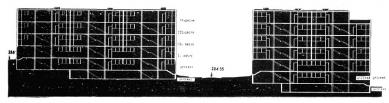 Soutěž na domy s nejmenšími byty na Břevnově - Podélný řez - foto: archiv redakce