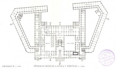 Projekt ústřední budovy elektrických podniků hl. města Prahy - Půdorys přízemí - foto: archiv redakce