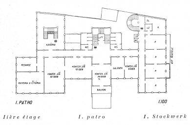 Soutěží návrh Inženýrského domu v Praze - Půdorys 1. patra - foto: archiv redakce