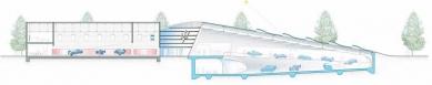 Enzo Ferrari Museum - Řez - modrá varianta (původní soutěžní projekt) - foto: Future Systems