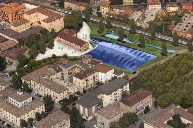 Enzo Ferrari Museum - Zákres do fotografie - modrá varianta (původní soutěžní projekt) - foto: Future Systems