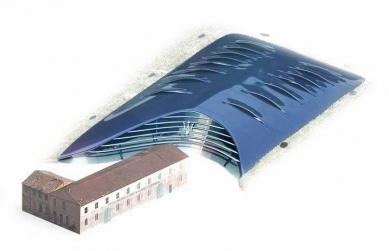 Enzo Ferrari Museum - Vizualizace - modrá varianta (původní soutěžní projekt) - foto: Future Systems