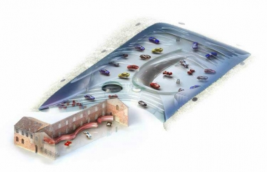 Enzo Ferrari Museum - Transparetní vizualizace s pohledem do interiéru - modrá varianta (původní soutěžní projekt) - foto: Future Systems