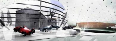 Enzo Ferrari Museum - Vizualizace interiéru nového pavilonu - foto: Future Systems