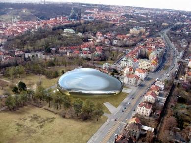Soutěžní návrh na Národní knihovnu ČR - 3. cena - Zákres do fotografie - foto: HŠH architekti