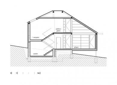"""Dřevěný dům """"na louce"""" - Řez"""