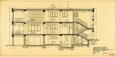 Tesařova vila - Podélný řez - foto: Kopie originálních plánů architekta Fuchse byly poskytnuty Muzeem města Brna