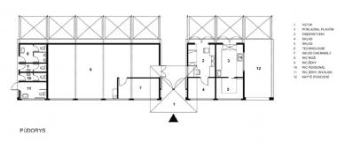 Koupaliště v Mokré – rekonstrukce požární nádrže - Půdorys obslužného objektu - foto: archiv DIMENSE