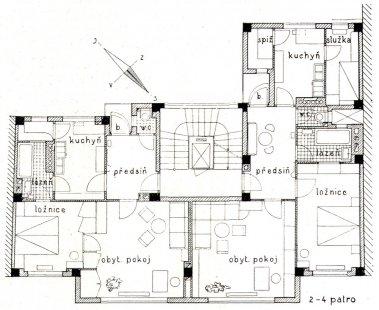 Nájemný dům s cukrárnou B. Kolbaby - Půdorys 2.-4. patra - foto: archiv redakce