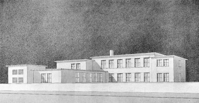 Dílny Státní průmyslové školy dřevařské - Návrh: perspektiva - foto: Stavba III. (1924-1925)