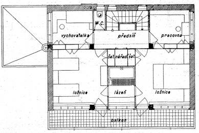 Návrh rodinného domu PhMr. R. Svobody - Půdorys patra - foto: archiv redakce