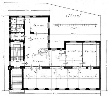 Administrativní budova Žilinské a Ladecké portlandcementové továrny - Půdorys - foto: archiv redakce