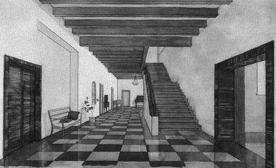 Vila Stiassny - Perspektiva haly s hlavním schodištěm