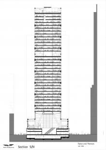 Hearst Tower - Řez mrakodrapem - foto: © Foster and Partners