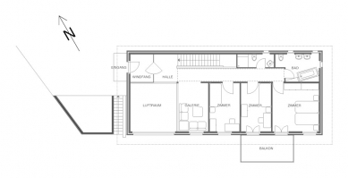 Rodinný dům v Münchensteinu - Vstupní půdorys - foto: © Jura Oplatek Architekt VUT/ SIA