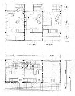 Soutěž na obecní domy s malými byty - Půdorysy dolního a horního patra bytu - foto: archiv redakce