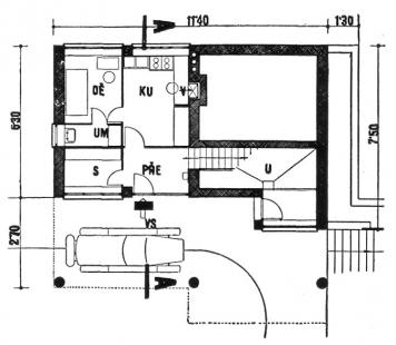 Rodinný dům v Louňovicích - Půdorys sníženého přízemí - foto: archiv redakce