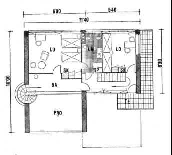 Rodinný dům v Louňovicích - Půdorys horního patra - foto: archiv redakce
