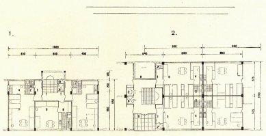 Soutěžní návrh pro kolektivní dům družstva Včela - Půdorysy bytů - foto: archiv redakce