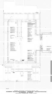 """Užitné prostory pod mostem """"Dreirosen"""" - Vertikální řez dřevěnou konstrukcí - foto: © Jura Oplatek Architekt VUT/ SIA"""