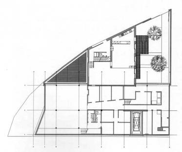 Apartment and commercial building Herrnstrasse - Půdorys suterénu - foto: Herzog & deMeuron