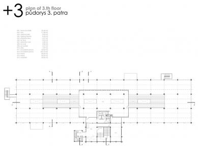 Podnikatelské inovační centrum Zlín - Půdorys 3. patra - foto: © Ing.arch. Pavel Mudřík