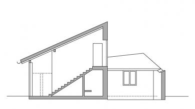 Rodinný dům v Dobřejovicích - Řez - foto: atelier K2
