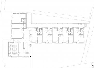 Bytový dům se startovními byty - Půdorys 1NP