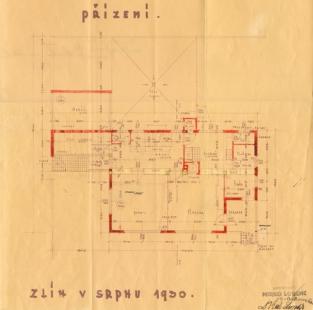 Přestavba vily na kavárnu - Plán přízemí od Miroslava Lorence, 1930 - foto: archiv Pavla Mudříka