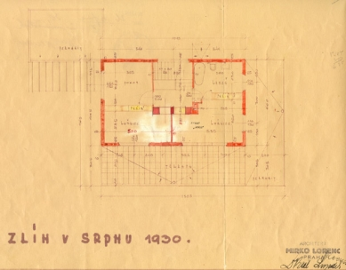 Přestavba vily na kavárnu - Plán patra od Miroslava Lorence, 1930 - foto: archiv Pavla Mudříka
