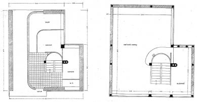 Dvojdům v kolonii Nový dům - Půdorysy zvýšeného suterénu a 1. patra - foto: archiv redakce