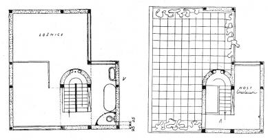 Dvojdům v kolonii Nový dům - Půdorysy 2. patra a střešní terasy - foto: archiv redakce