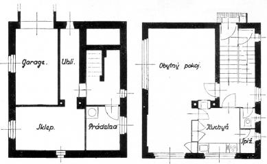 Dům v kolonii Nový dům - Půdorysy zvýšeného suterénu a přízemí - foto: archiv redakce
