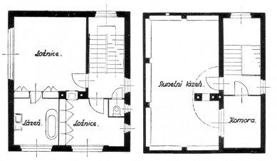 Dům v kolonii Nový dům - Půdorysy patra a terasy - foto: archiv redakce