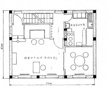 Dvojdům v kolonii Nový dům - Půdorys přízemí - foto: archiv redakce