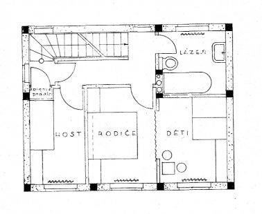 Dvojdům v kolonii Nový dům - Půdorys patra - foto: archiv redakce