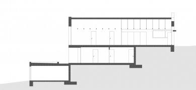 Rodinný dům Strážky - Podélný řez - foto: © 3+1 architekti
